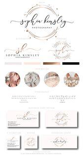 Illustrator Business Card Rose Gold Logo Design, Rose Gold Branding kit, Premade Branding Kit,Rose Gold Bu...