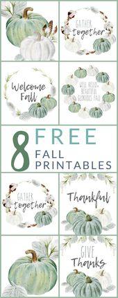 8 FREE – Neutral Farmhouse Style Fall Printables D…