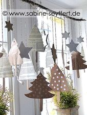 DIY Craft Idea Fir tree sewn from wrapping paper as a Christmas decoration  – Christmas Noel
