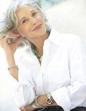 A clean white shirt with a collar is so flattering for women over 50. The white light bounces over the face. The open neck is ...