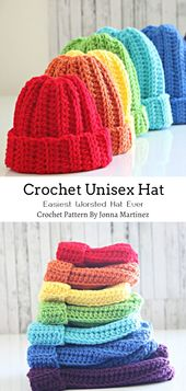 Crochet Ribbed Unisex Hat In All Sizes