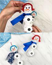 Egg Carton Snowman Ornament Craft