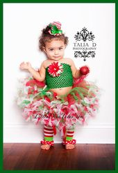 Baby Girls Christmas Santa Tutu Outfits Costume Toddler Kids Xmas Dress Up Party Dresses Holiday Winter Warm Tops Tutu Skirt Dress 2Pcs Clothes Suit Dress Up Photo Shoot 0-4 Years