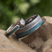 Conjunto de anillo de bodas turquesa, anillo de compromiso floral con alianza de meteorito-3872   – s