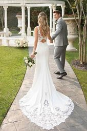 Mermaid Court Train White wedding dress with lace top