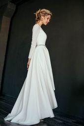 MAKANI / / hohen niedrigen Rock bescheidene Hochzeitskleid, Krepp Mieder mit langen schmalen Ärmeln, eine Linie Rock, Rock Farbe Futter, Schaufel zurück, einfach