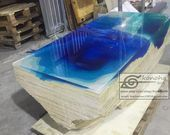 Blue River Tischplatte mit Epoxy Einlage Senna Siamea Holz, Epoxy Tisch, Harz Tisch …   – H… – Epoxy Crafts