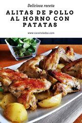 Deliciosa receta fácil para alitas de pollo al horno con papas.   – Recetas de cocina