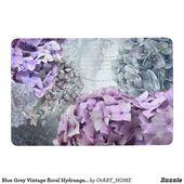 Blue Grey Vintage floral Hydrangea Flower pattern Floor Mat | Zazzle.com