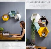 Metal Hexagonal Hanging Shelf Modern Living Room Wall Decore