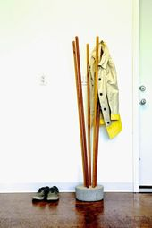 DIY Industry Concrete And Broomstick Coat Tree