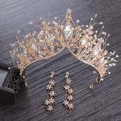 Baroque Crystal Gold Crown for Wedding Hair Accessories Gems Bridal Tiara Bride … – Bridal Crowns