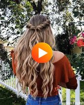 Simple half to half down hairstyle, easy half updo in 1 min, boho