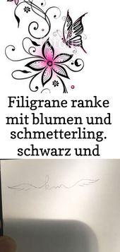 Filigrane ranke mit blumen und schmetterling. schwarz und pink. filigrane ranke … – tattoo ideas 11
