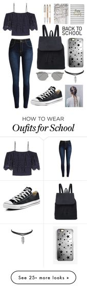 """Back To School Outfit"" by kirsty-mckenzie44 on Polyvore featuring Ganni, Boohoo, Go Stationery, Converse, Rianna Phillips and Linda Farrow – Nagisa B"