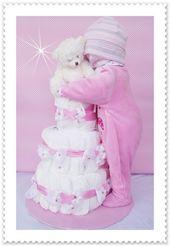 XXL Windeltorte Baby Mädchen kompl. Outfit rosa von Geschenke-Eckle auf DaWanda… – Windeltorten