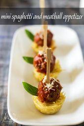 Apéritif Mini Nids de Spaghetti et Boulettes de Viande Italiennes   – Rec : Itsy Bitsy Fingerfood