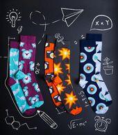 Set of 3 Analog camera socks | retro socks | flash socks | feather socks | clock arrow socks | photographer socks | Pure cotton