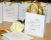 30 Wedding Welcome Bags with satin ribbon handles and your names Silver & Navy blue Personalized Wedding bags for wedding favor for guests