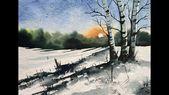 Photo of Wie man eine verschneite Winterlandschaft malt   einfache Aquarellmalerei für Anfänger