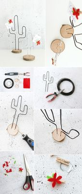 Do it yourself: Make a cactus note holder made of wire and a tree slice