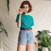 Adorable retro vintage souvenir tshirt, in soft turquoise on – Depop