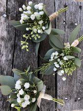 Frisches Grün und Babys Atem Boutineere, Hochzeit Boutineer, Landhochzeit, frischer Eukalyptus, DIY-Hochzeit, Scheunenhochzeit, Bräutigam, gesät   – Hochzeit