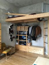 DIY bunk bed with integrated clothes storage. #selfmade #DIY # furniture # one …  – Bedroom ideas