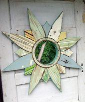 Sunburst Mirror, Reclaimed Wood Art, Starburst  Mirror, Salvaged Wood Mosaic Wal…