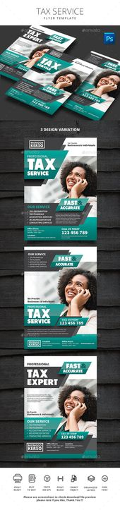 Tax Service Flyer Design Template PSD. Download here: graphicriver.net/…