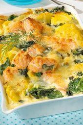 Der Lachsgratin eignet sich hervorragend für Gäste oder als Sonntagsessen! # Lachs # Kartoffeln
