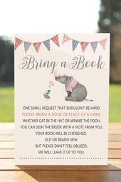 Rhino Bringen Sie ein Buch anstelle einer Karte, Bringen Sie ein Buch mit Babypartyeinsatz, B