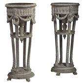 Pair Of Louis Xvi Painted Wood Jardinière Stands