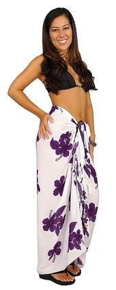 1 World Sarongs Womens Hibiscus Flower Swimsuit Sarong in your choice of color – White/Purple