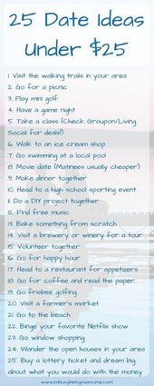 25 Date Ideas Under $25 date night, money saving, fun activities, frugal, family…