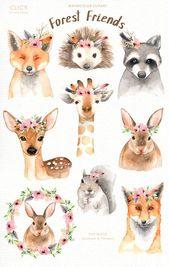 Waldfreunde Aquarell ClipArt, Waldtiere, Kinder Clipart, Boho Clipart, Kinderzimmer Dekor, Tier mit Blumenkrone, Hirsch Hase Giraffe