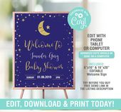Baby Showers Twinkle Welcome Twinkle Twinkle Little Star Baby Shower Sign, Navy and Gold Birthday Sig...