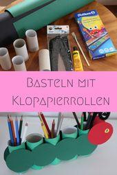 Stiftehalter basteln mit Kindern aus Klopapierrollen – Raupe Nimmersatt