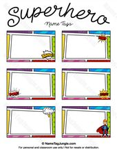 Free Printable Superhero Name Tags Each Name Tag Features A Comic Book Style Border With Action Bubbles A Super Superhero Name Tags Superhero Names Superhero