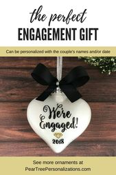 Personalized Engagement Ornament For Couple, Engagement Gifts For Couple, Newly Engaged Ornament, Engaged Christmas Ornament Personalized   – A Wedding Group Board