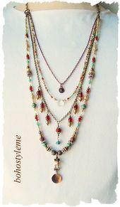 Böhmischer Schmuck, Boho Gypsy Style Perlenkette, einzigartige geschichteten Halskette, Original, Bohostyleme, Kaye Kraus