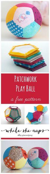 Ein kostenloses Tutorial für einen Patchwork Ball #fabrictoys Ein kostenloses T…
