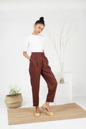 High Waisted Brown Linen Pants / Vintage Inspired …