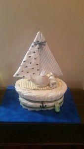 Baby Shower Haul Sailboat diaper cake. Ideal for a nautical or sailboat themed baby shower! Baby ...