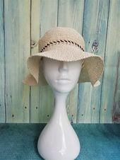 Raffia hat wide-brimmed – Crochet packable sun hats with ribbon for womens – Summer raffia hats – Products