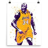 Shaquille O'Neal Los Angele Lakers Poster, Sports Art Print, Basketball Poster, Kids Decor, Man Cave