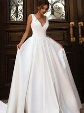A-Line V-Neck Sweep Train White Satin Wedding Dress Bridal Gown
