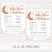 Baby Showers Twinkle Rose Gold Baby Advice & Predictions Printable, Little Star Baby Shower, Twinkle Little Star, Baby Sh