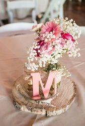 100 rustikale Hochzeitsideen – Rustikale Hochzeitsmittelstücke mit Baby-Atem in Maurer …