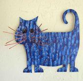 CAT LOVER Wandkunst Metallwand Skulptur Recycling Metall Kitty Dekor lila Kobaltblau Fett Tabby Katze Indoor Outdoor Art Katze 13 x 13